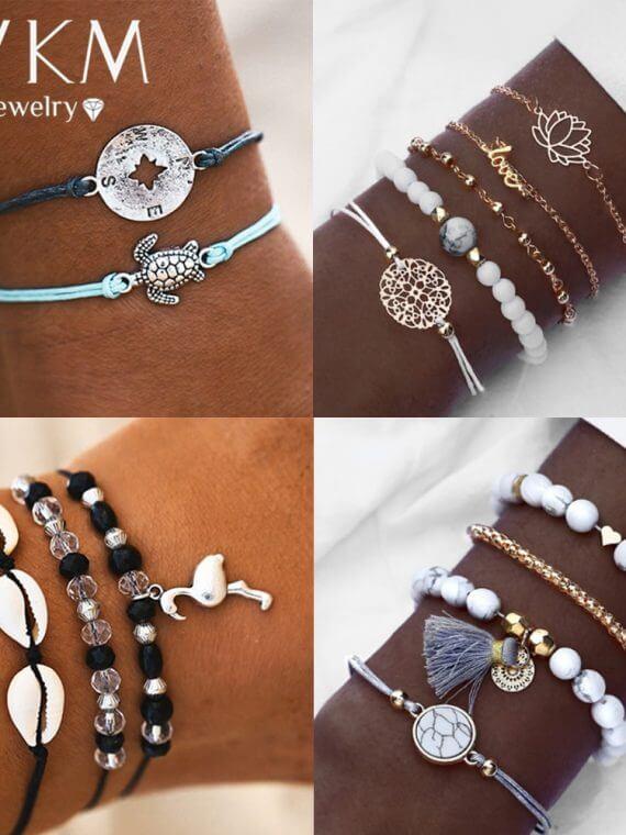 Bohemian Heart Stone Tassel Bracelets Set For Women