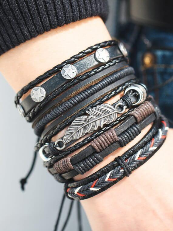 Men and Woman Wristbands Owl Leaf Leather Bracelet Bangles