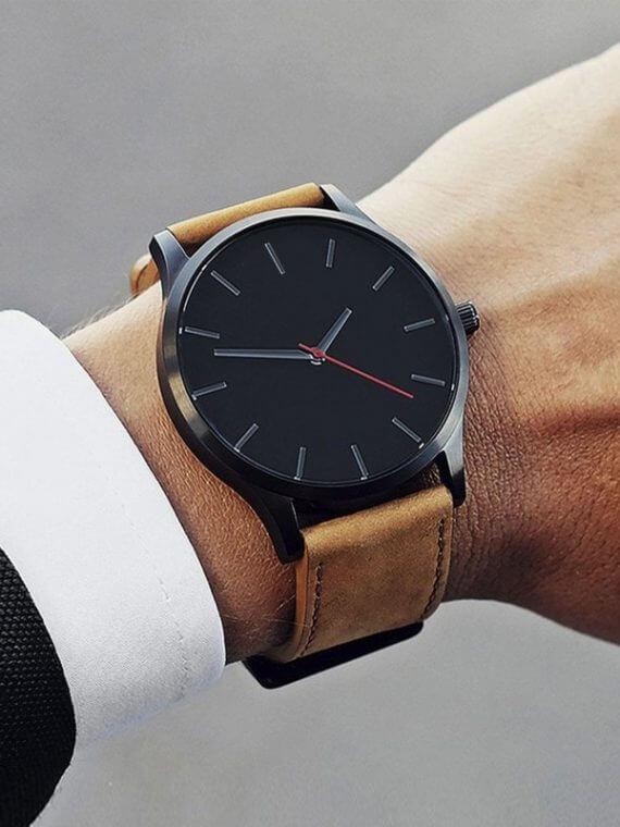 Big Dial Luxury Quartz Leather Watches For Men Black