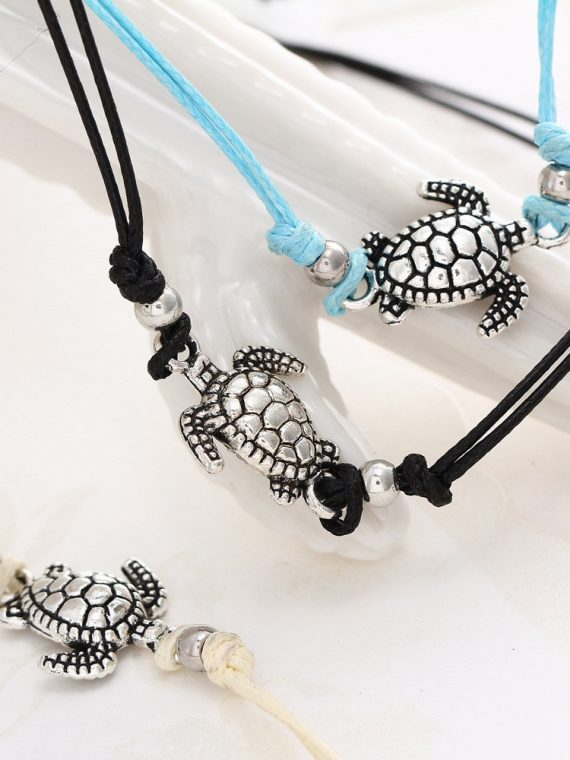 Vintage Multiple Layers Anklets for Women Bohemian Retro Turtle
