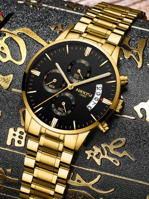 NIBOSI Gold Quartz Watch Stainless Steel Relogio