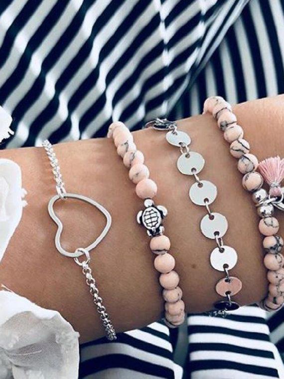 Modyle New Bohemian Marble Stone Beads Bracelet Set for Women