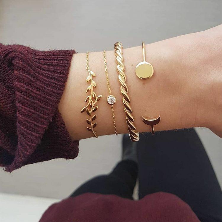 4 Pcs Set Exquisite Women Carved Leaves Round gem Chain Adjustable Cuff Bracelet