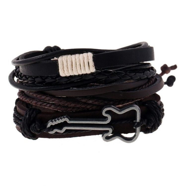 3 pcs set Handmade Trendy Vintage Punk Wood Bead Guitar Leather Adjustable length Bracelets