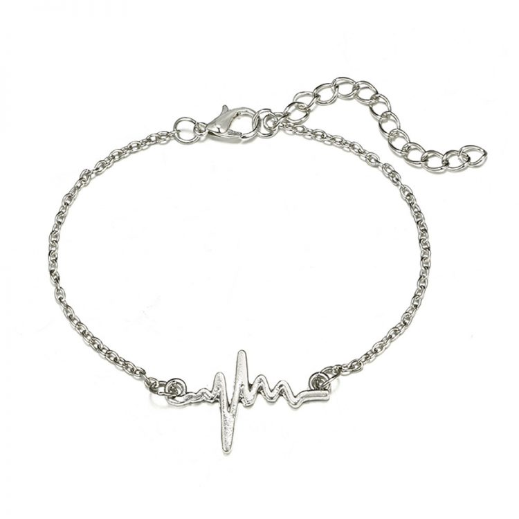 Women Simple Beaded ECG World Map Chain Bracelets