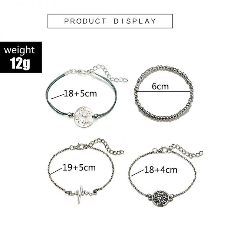 4pcs Women Simple Beaded ECG World Map Chain Bracelets