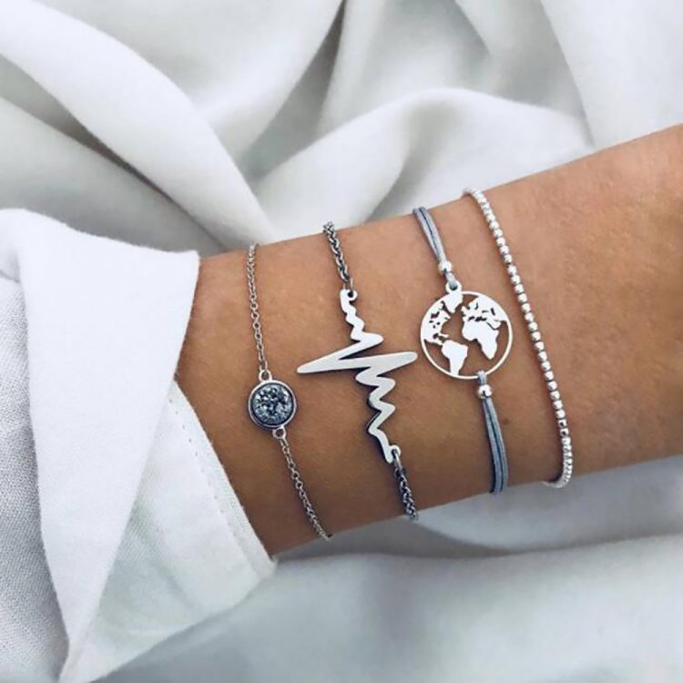 4pcs Women Simple Beaded ECG World Map Chain Bracelets