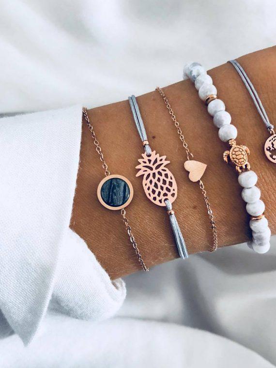 5 Pcs set Bohemian Pineapple Turtle Heart Earth Bracelet Sets for Women