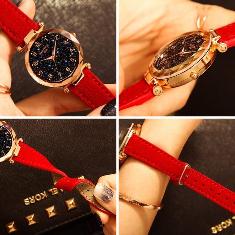 Star Sky Dial Clock Luxury Rose Gold Women's Bracelet