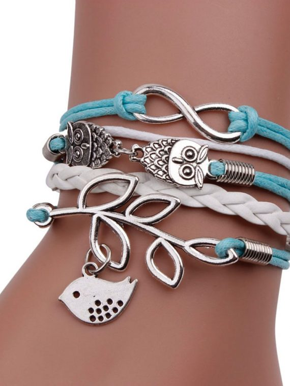 Gofuly Retro Women Owl Leaf Bird Bracelet