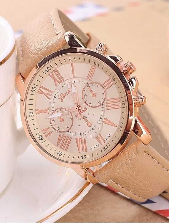Big Dial Luxury Quartz Leather Watches For Men