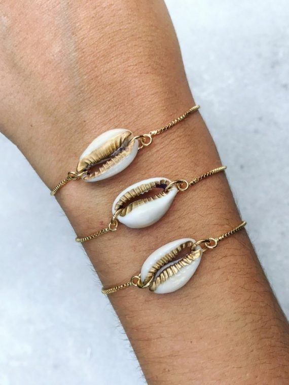 3 pcs New Fashion gold color shell bracelet
