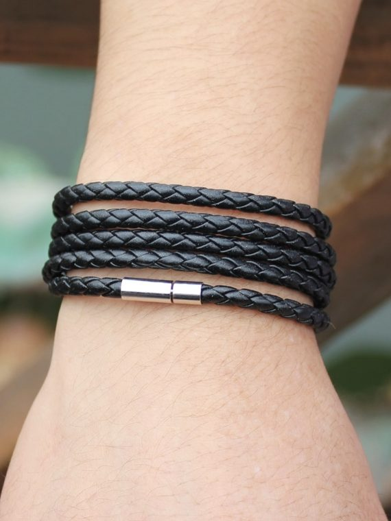 Latest Popular 5 Laps Leather Bracelet For Men-Charm