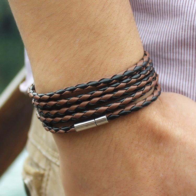 Latest Popular 5 Laps Leather Bracelet For Men-Charm