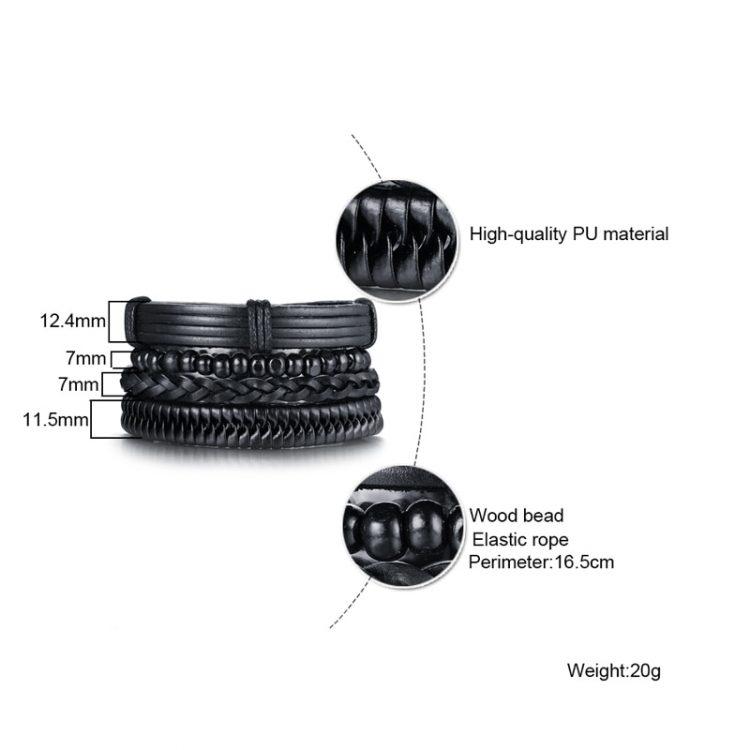 Vnox 4 pcs set Black Handmade Trendy Vintage Punk Wood Bead Leather Adjustable length Bracelets