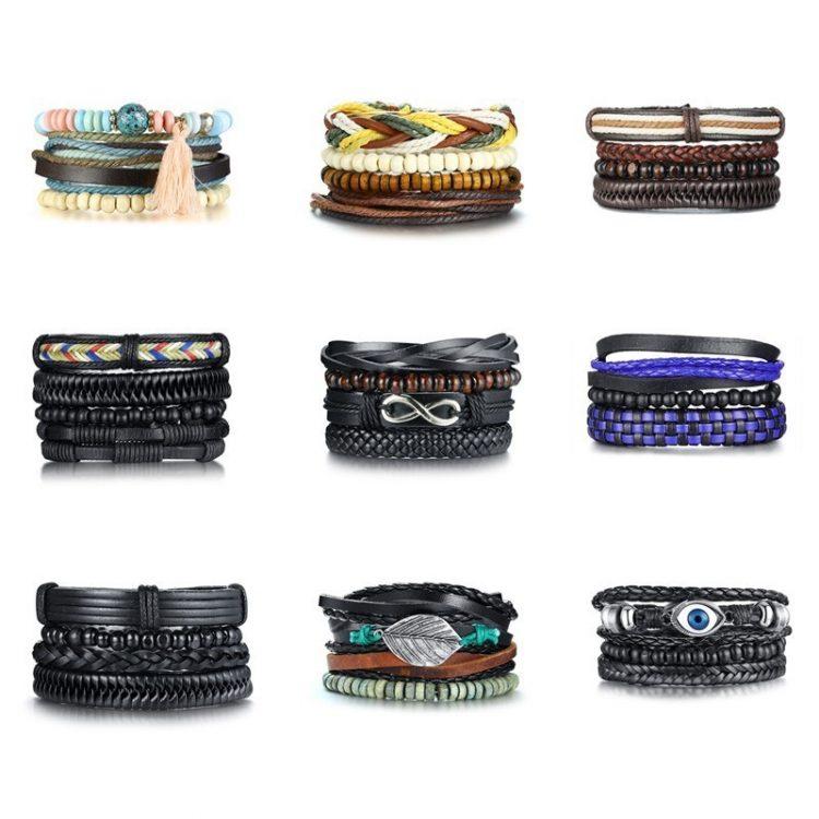 Vnox 4 pcs set Handmade Trendy Vintage Punk Wood Bead Leather Adjustable length Bracelets