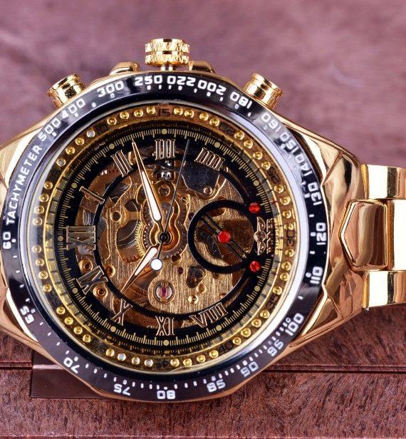 Winner New Sport Design Bezel Golden Watch